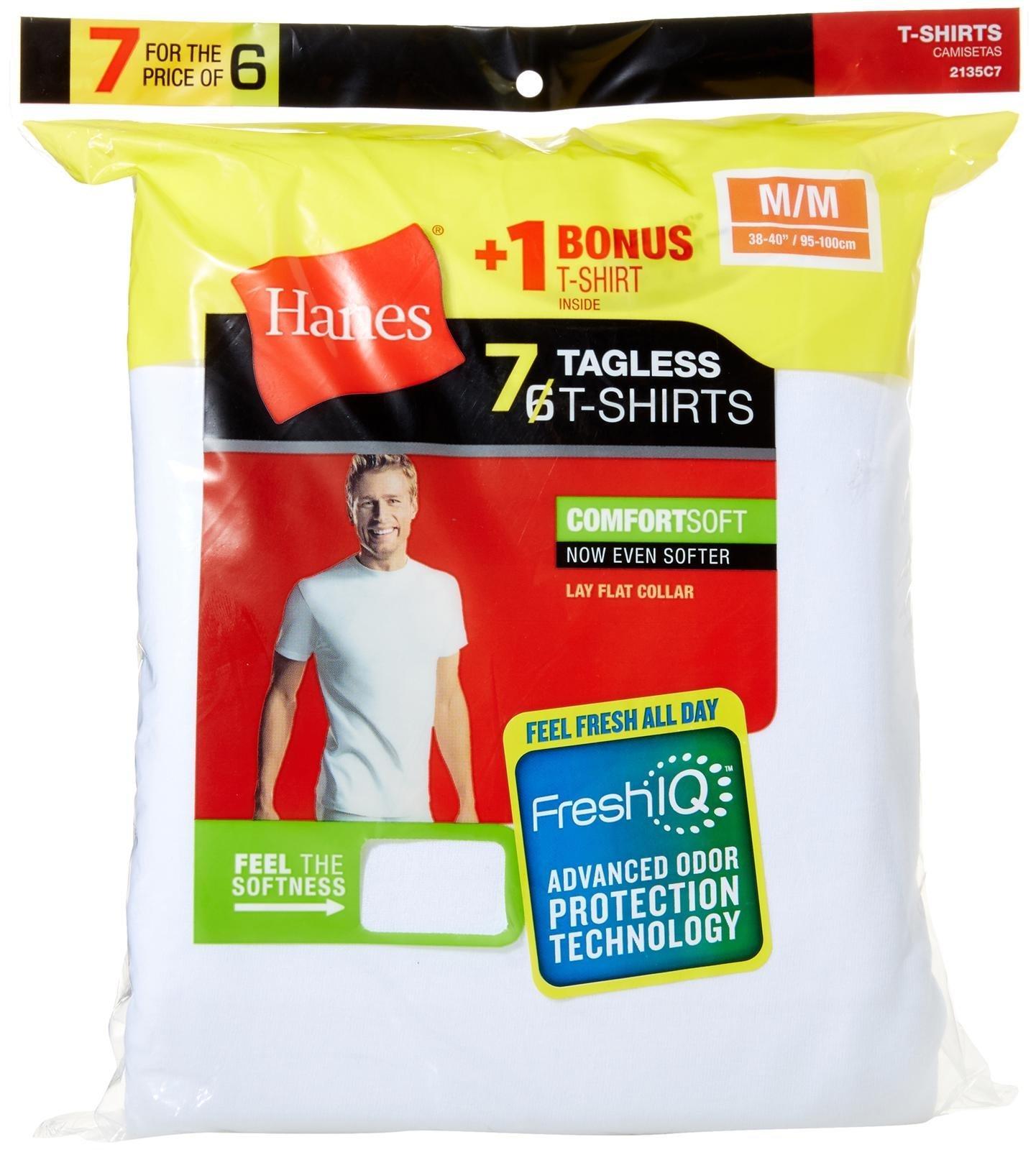 Hanes Men's FreshIQ ComfortSoft Crewneck T-Shirt (Bonus Pack), White, Large by Hanes