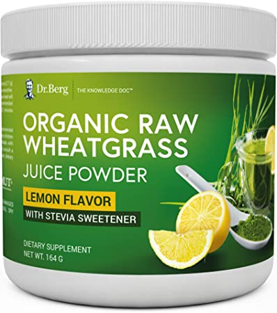 Dr. Berg's Organic Raw Wheat Grass Juice Powder with Kamut - Natural Lemon Flavor - Rich in Vitamins, Chlorophyll & Trace Minerals - BioActive Dehydration & Ultra-Concentrated Nutrients (1 Pack)