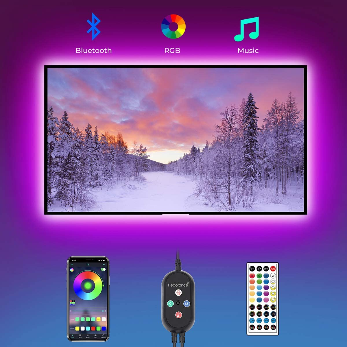 LED Strip Lights, Hedorance 14.76ft TV LED Backlight for 65-75 inch TV with Remote APP Control Sync to Music, 16 Million Color Changing USB RGB LED Lights for TV, PC Monitor, Mirror, Gaming Room