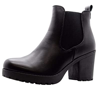 483d2f3b56f50 Ladies Women Block Chunky Mid Heel Studded Chelsea Ankle Boots Office Shoes  Size 3-8