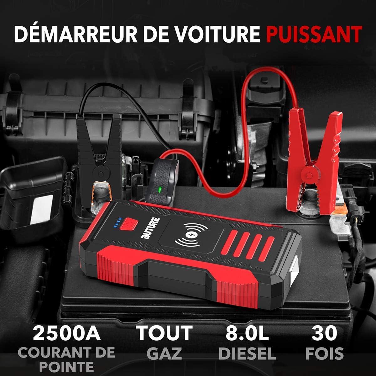 BuTure Booster Batterie Tout Gaz ou 8,0 L Diesel 23800mAh D/émarrage de Voiture Cr/ête 2500A Chargeur sans Fil10W et Portable Jump Starter 2 en 1