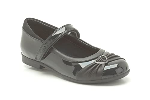 Clarks Girls Formal/School Shoes Dolly Heart - Black Patent - UK Size 8.5H