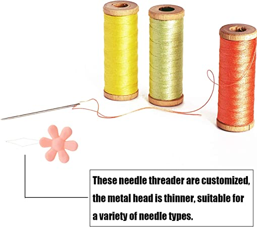 Hand Machine Sewing Tool 2 Style Assorted Color Kenkio 48 Pieces Plastic Gourd-Shaped Needle Threader Flower Head Wire Loop Needle Threader