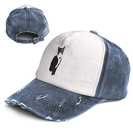f0dd841e90d Tuxedo Cat Black and White Cartoon Adult Mens Women Hat Cap Distressed  Washed Baseball Cotton Denim