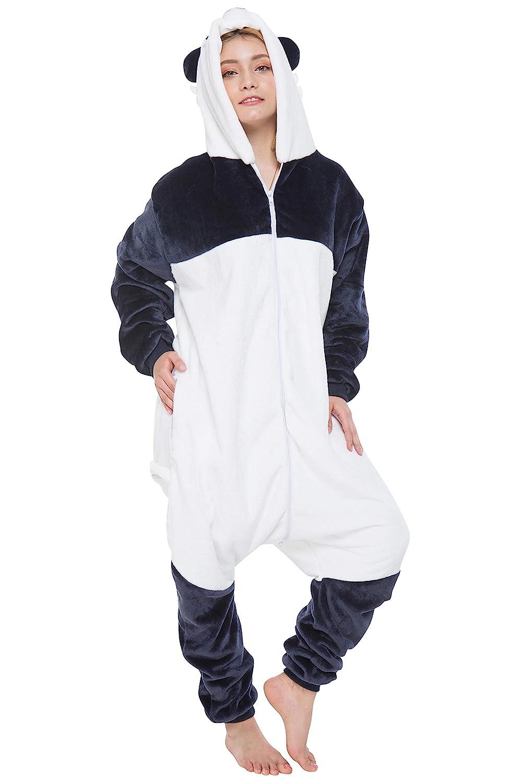 Corimori 1852 (6+ designs)  Mei  il Panda Costume Uomo Donna Tuta Kigurumi Animale Pigiama Intero, (150-160 cm), Bianco Blu Grigio