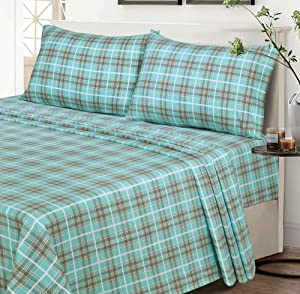 Ruvanti 100% Cotton 4 Piece Flannel Sheets Full- Green Plaid-Deep Pocket-All Seasons-Warm-Super Soft-Breathable & Moisture Wicking Flannel Bed Sheet Set King Include Flat, Fitted Sheet & 2 Pillowcases