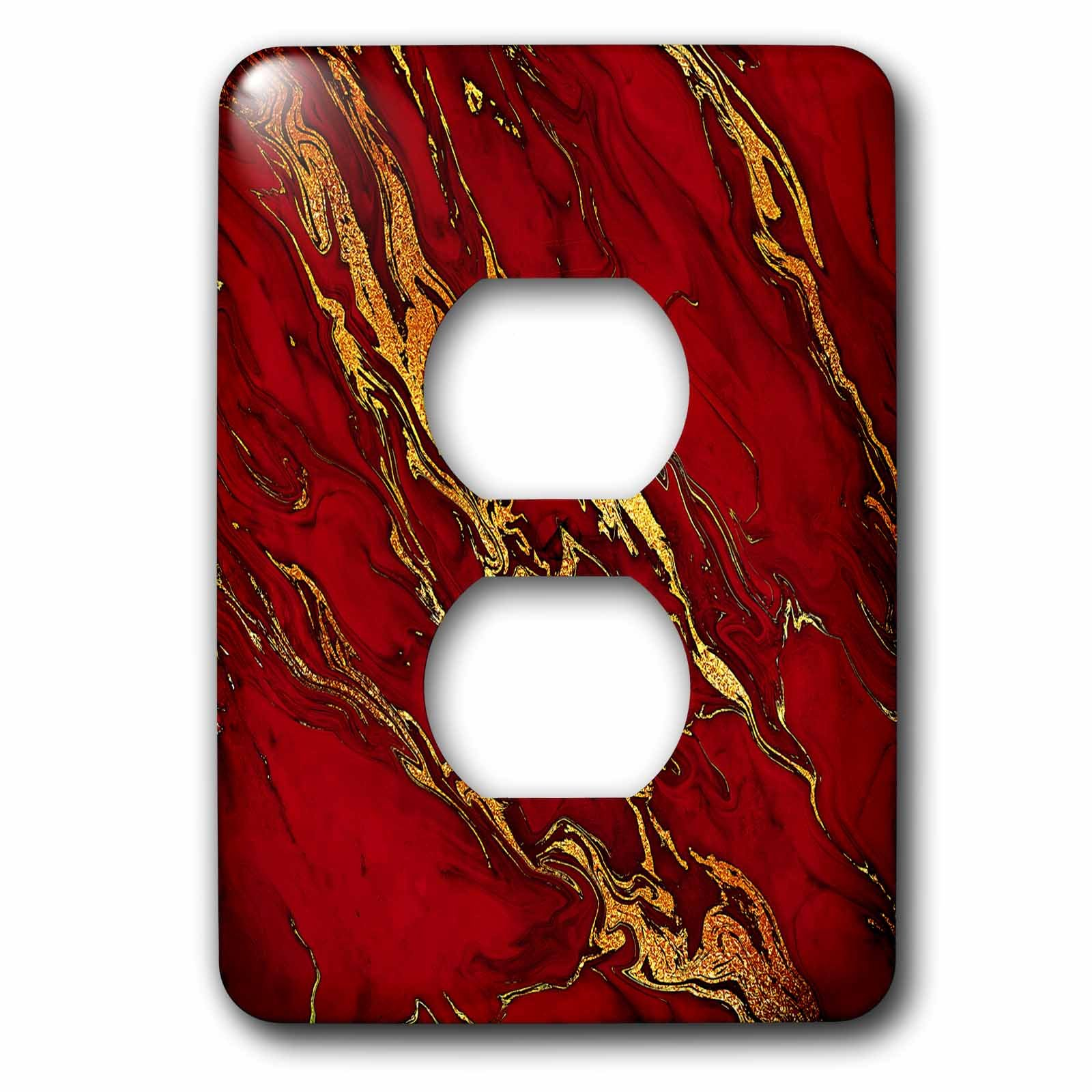 3dRose Uta Naumann Faux Glitter Pattern - Luxury Red Gold Gem Stone Marble Glitter Metallic Faux Print - Light Switch Covers - 2 plug outlet cover (lsp_268833_6)