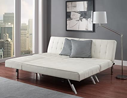 Amazon.com: White Faux Leather Sectional Sofa Couch Queen Sleeper ...