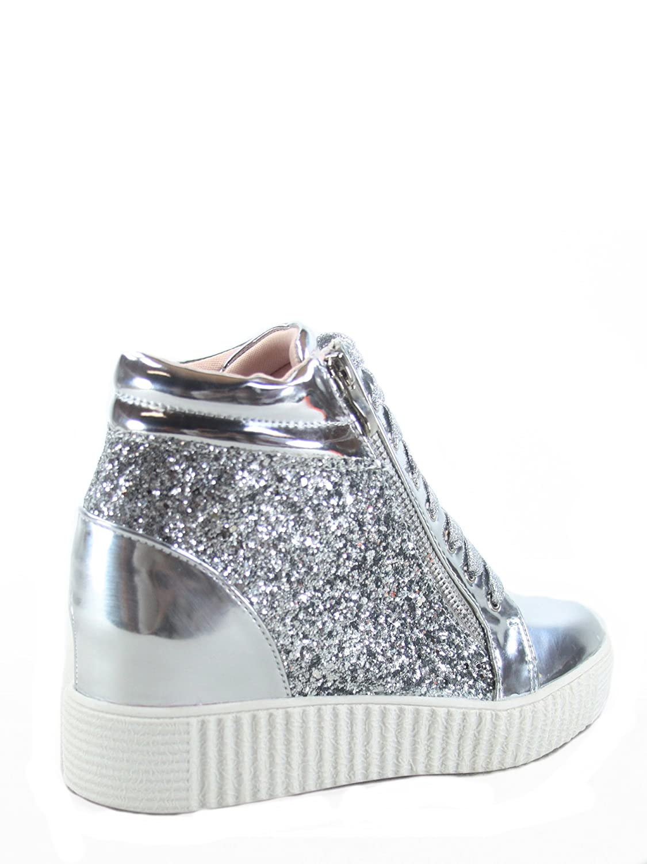 Forever Link Regan-14 Women's Fashion Glitter Lace up Platform Wedge Sneaker Shoes B07C71VJ66 7.5 B(M) US|Silver