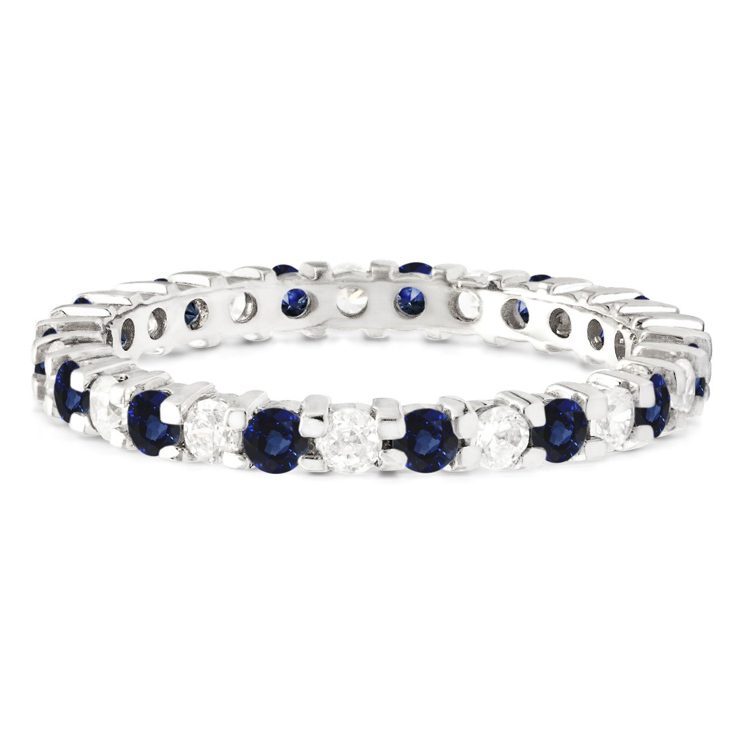 Stackable 1.7 mm Diamonds (G-H I2-I3) and Genuine Sapphire Set In Silver Double Shared Prong Eternity Ring