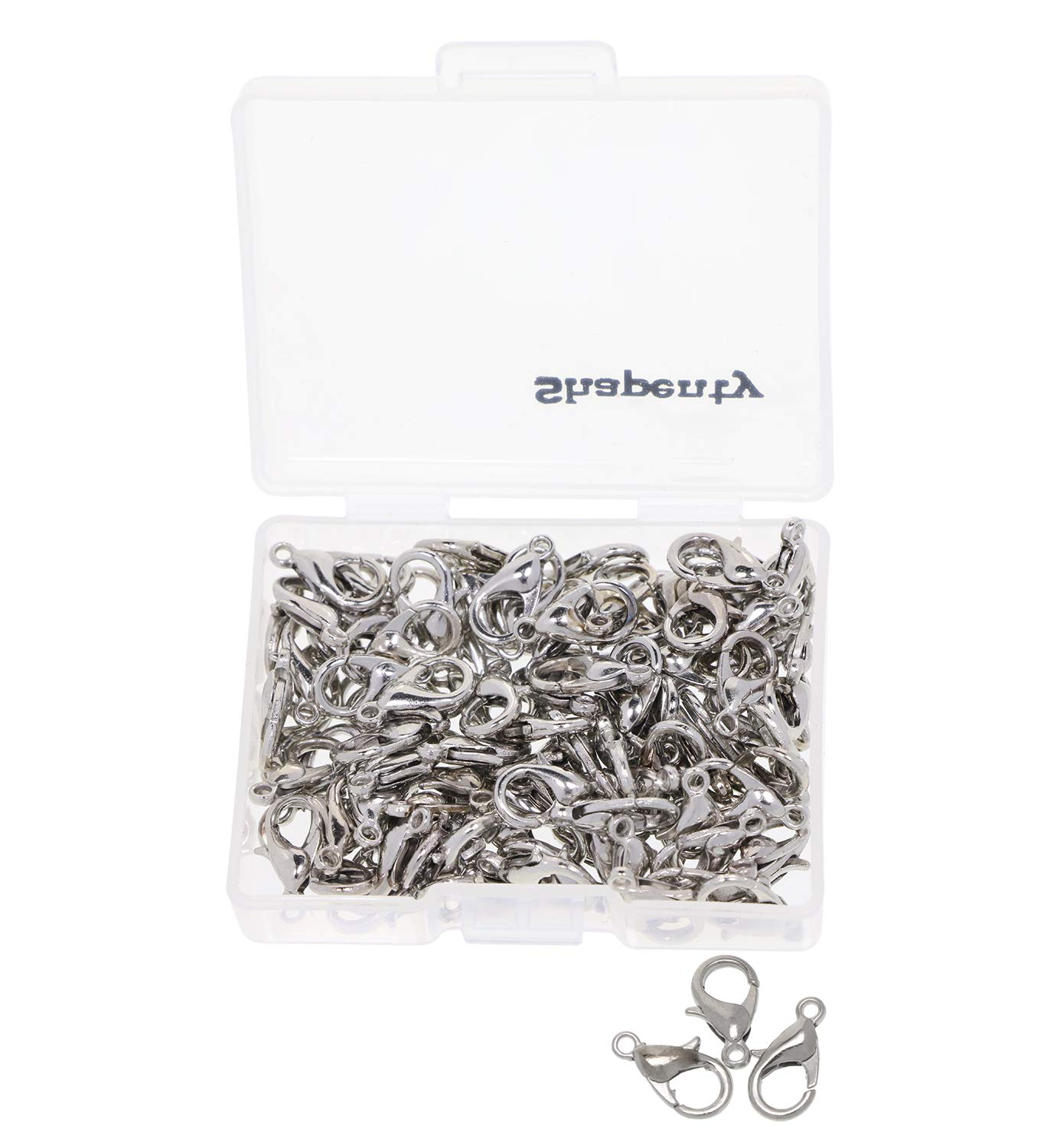 12mmx6mm 100PCS Shapenty Small Metal Alloy Lobster Claw Clasps Clip DIY Necklace Jewelry Finding Making Accessories Fastener Hook Silver