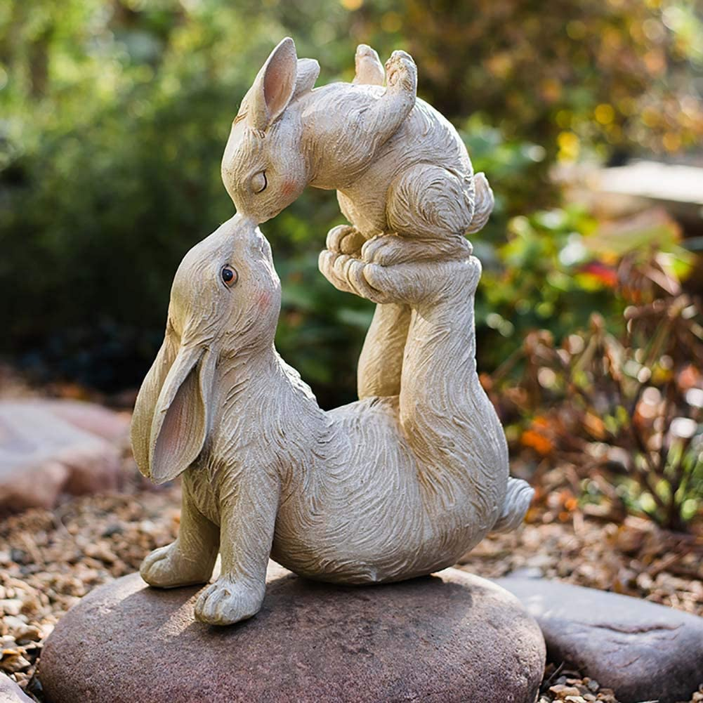 LIUSHI Outdoor Stone Effect Rabbit Sculptures,Mother Bunny Kissing Baby Garden Ornaments,Parent Child Bunny Lawn Statues,Hare Yard Patio Decor