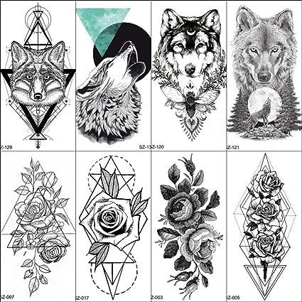 MRKAL Tatuajes Temporales 10X6 Cm Popular Tatuaje Falso Geométrico ...