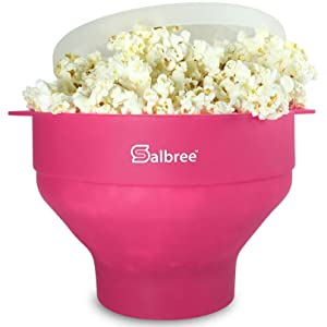 The Original Salbree Microwave Popcorn Popper, Silicone Popcorn Maker, Collapsible Bowl BPA Free - 14 Colors Available (Magenta)