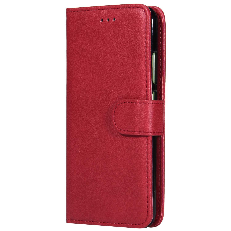 Lomogo Coque Huawei P10, Housse en Cuir Portefeuille avec Porte Carte Fermeture par Rabat Aimanté Anti Choc Etui de Protection pour Huawei P10 - LOKTU30364 Rouge