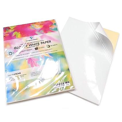 50b7ae30c9 Fogli di carta adesiva per stampa etichette, formato A4, confezione da 50,  colore bianco lucido: Amazon.it: Casa e cucina