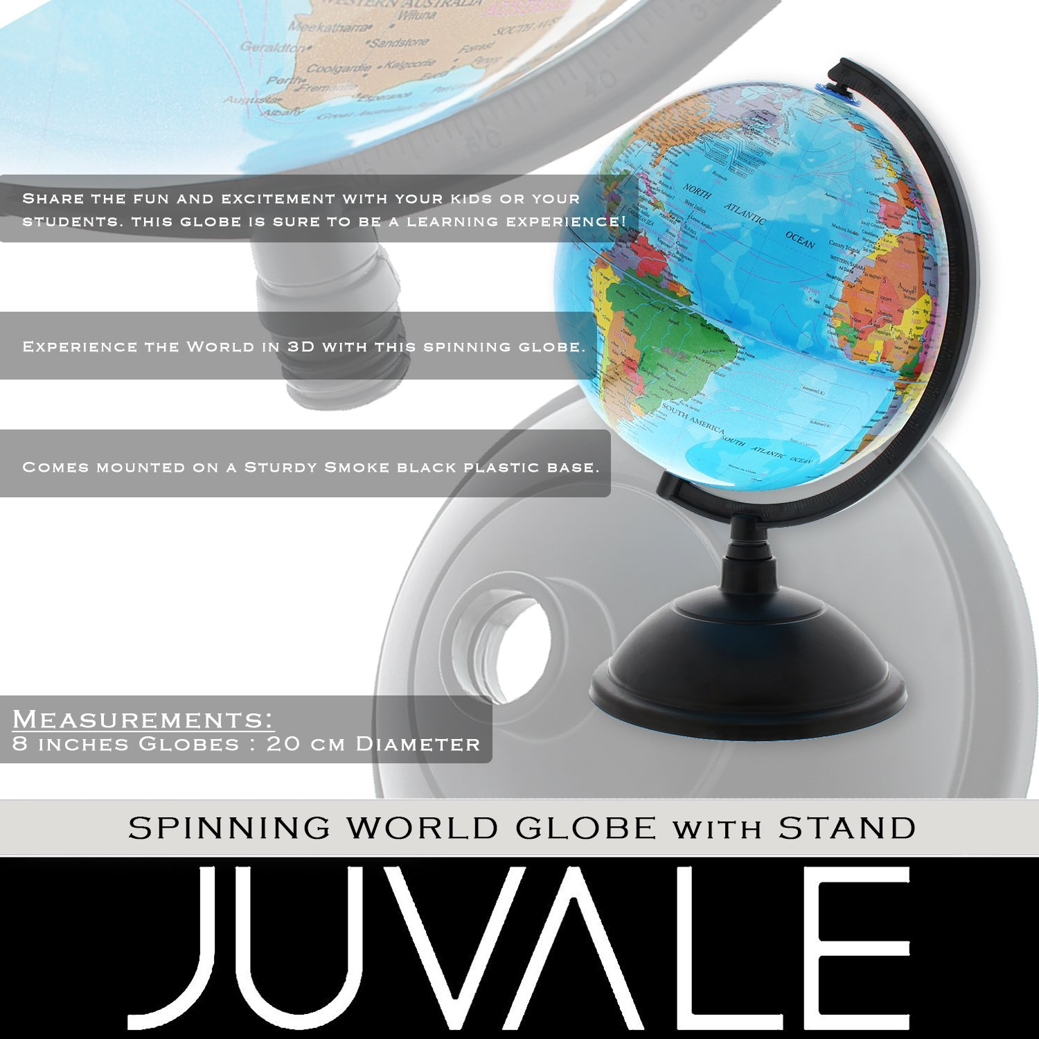 Amazon: World Globe With Stand  Educational Learning Rotating Desktop  Globe  Perfect For Kids, Geography Students, Teachers And More  Classic  Design