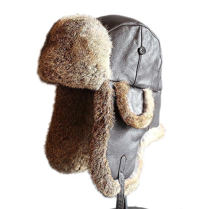 497abf7cf7b Furtalk Mens Lamb Sheep Leather Rabbit Russian Fur Aviator Hat dad hats  winter soviet fur Ushanka trapper hat for men (X-Large