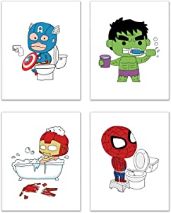 Avengers Bathroom Superhero Kids Photo Prints - Set of 4 (8 inches x 10 inches) Wall Art Decor