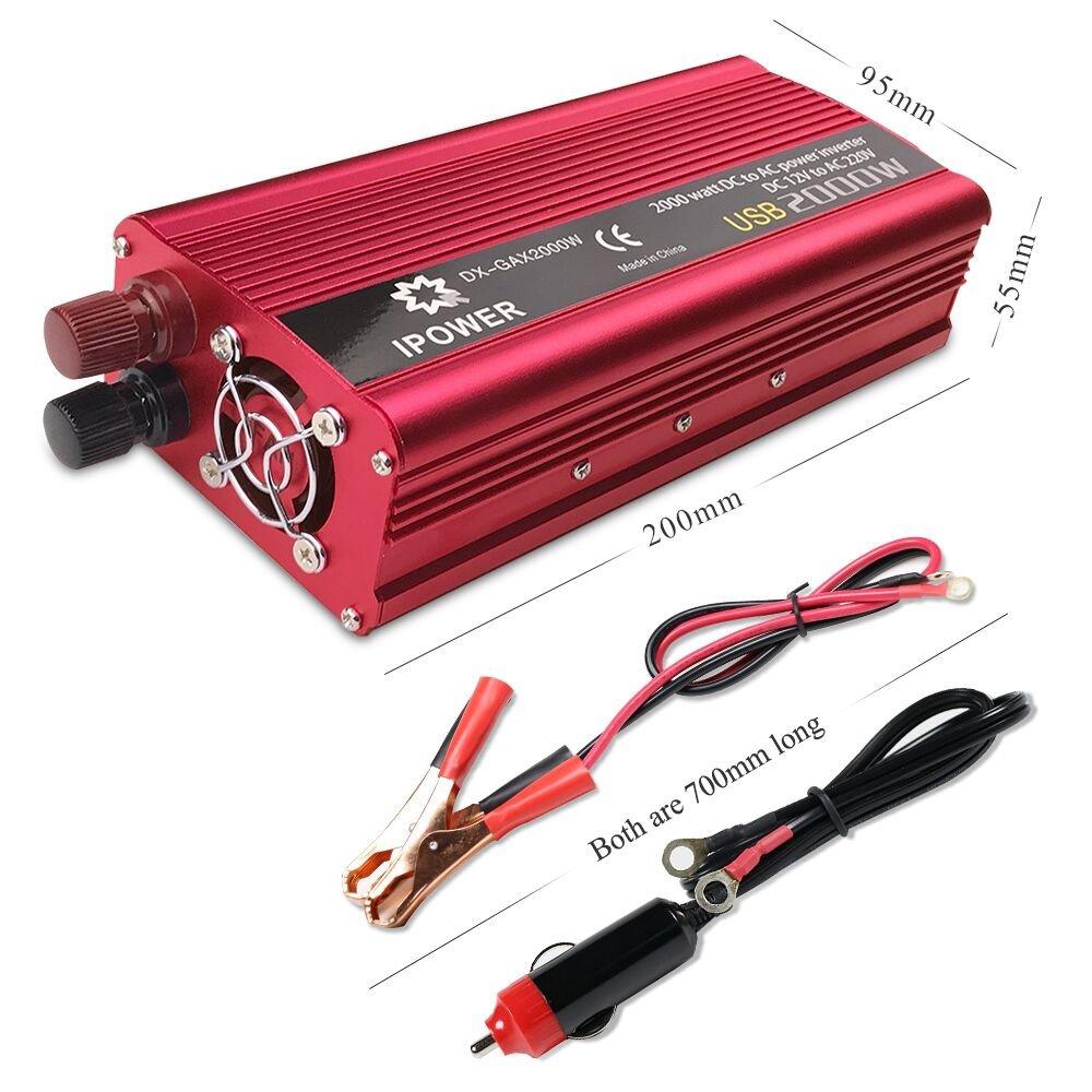 LVYUAN 1000W 2000W Peak Power Inverter DC to AC Converter 12V to 230V 240V Car with USB Plug AC Adapter