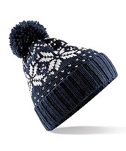 Beechfield Unisex Fair Isle Snowstar Winter Beanie Hat (One Size) (French Navy / White)