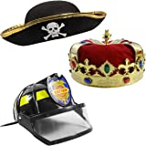 Dress Up Hats for Kids – 3 Costume Hats , King Crown , Pirate Hat , Fireman Hat - Dress Up Clothes by Funny Party Hats