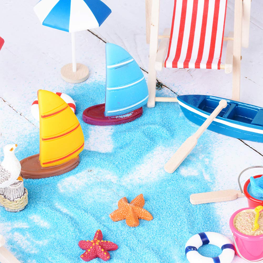 JNCH 20 Pieces Seaside Theme Beach Miniature Ornament Kits Set for DIY Fairy Garden Dollhouse Decoration Turtle Coconut Palm Blue Sand Starfish Boat Beach Chair Seagull Oars Beach Umbrellas