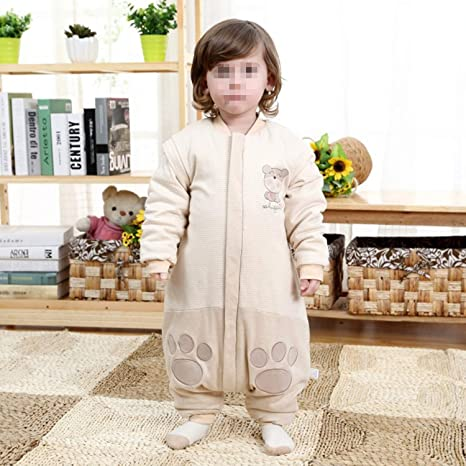 Bebé Recién Nacido Algodón Pierna Partida Algodón De Color Desmontable Saco De Dormir Pijamas Siameses 90