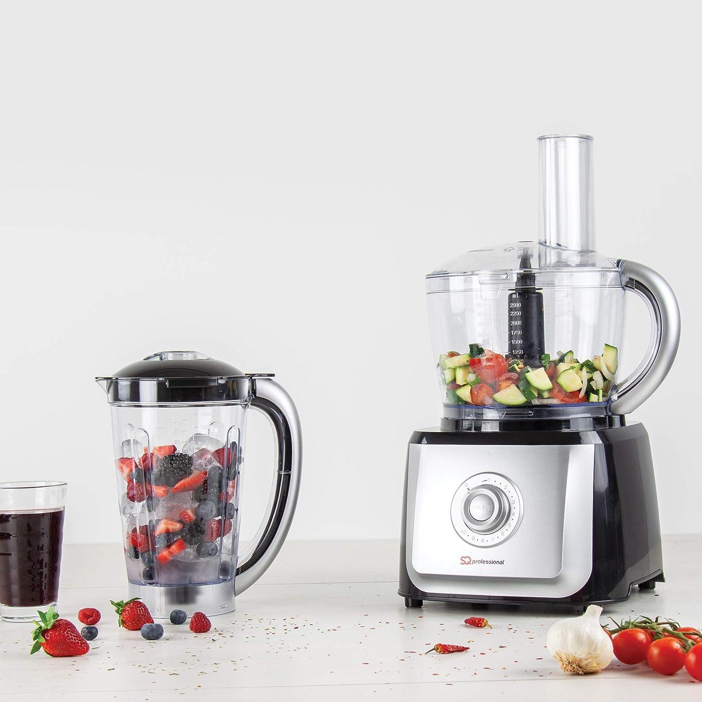 Robot de cocina Procesador de alimentos múltiple 2 en 1, licuadora de 700 W - Plata: Amazon.es: Hogar