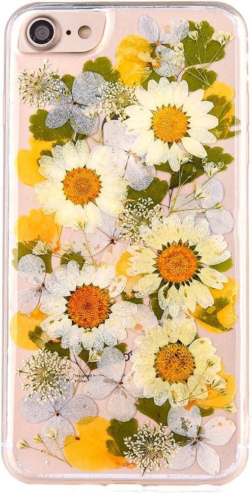 MAOOY iPhone 6 Claro Funda, iPhone 6s Caso, Transparente Carcasa Silicona Cover Claro Híbrido Cubierta con Elegante Hecho a Mano Patrón de Flores Secas para iPhone 6/6s, Flores de Colores 6