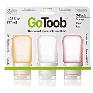 humangear GoToob 3-Pack Travel Bottle, Clear/Orange/Red