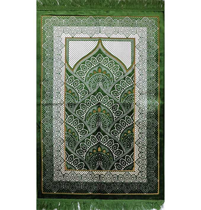 Amazon.com: Wide Plush Velvet Islamic Prayer Rug Namaz ...
