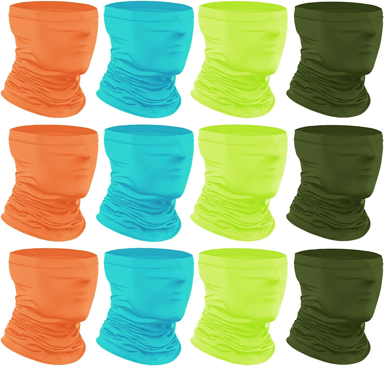 6-14 Years Kids Cooling Neck Gaiter Scarf 12-Pack Breathable Bandana Face Bandana Cover for Boys Girls Anstronic