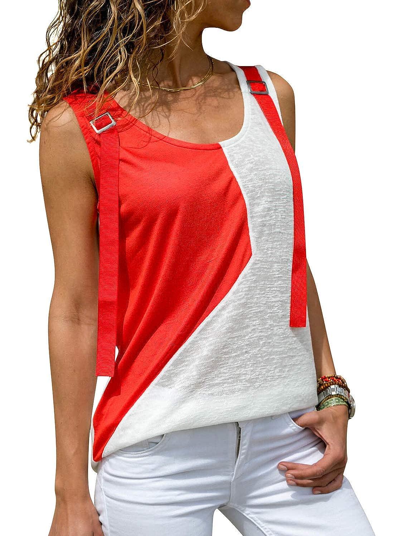 ZXZY Womens Color Block Sleeveless Tank Tops Shoulder Belt Geometric Tank Shirt