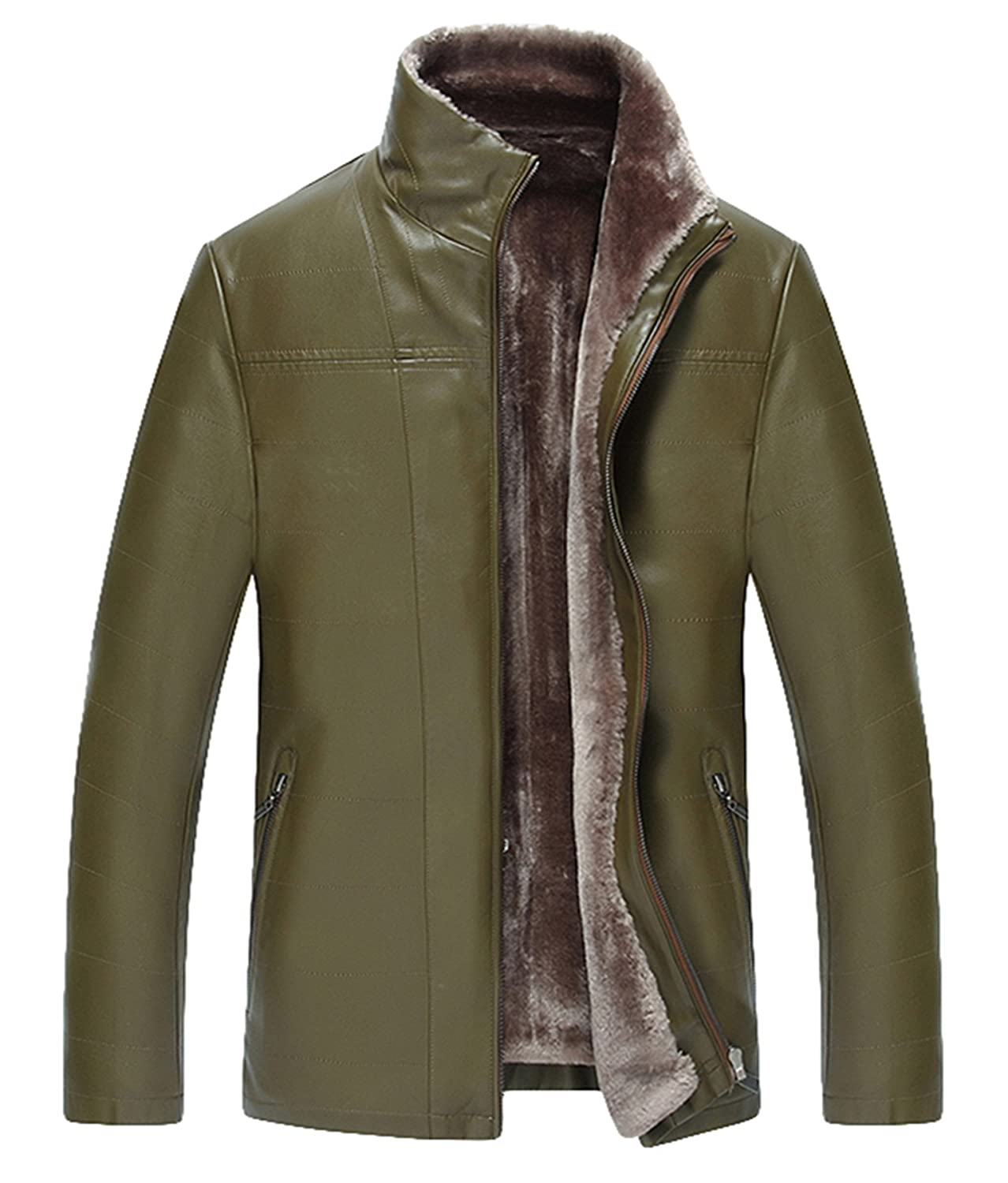 men leather Fur Thick warm Leather jacket Business Leather Winter coat