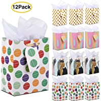 12-Pack 7x9x4 Inch Gift Bags with Tissue Paper