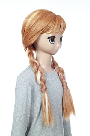 Prettyland C697 Frozen Anna 60cm Blond Wig With Bang And Two Long