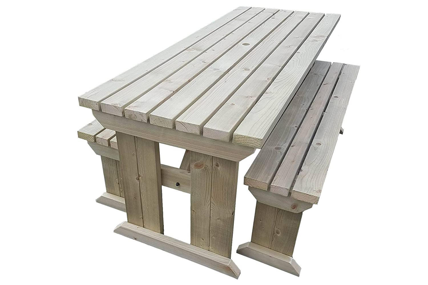 Yews compact garden picnic table and benches space saving furniture for small spaces heavy duty handmade in uk pressure treated light green