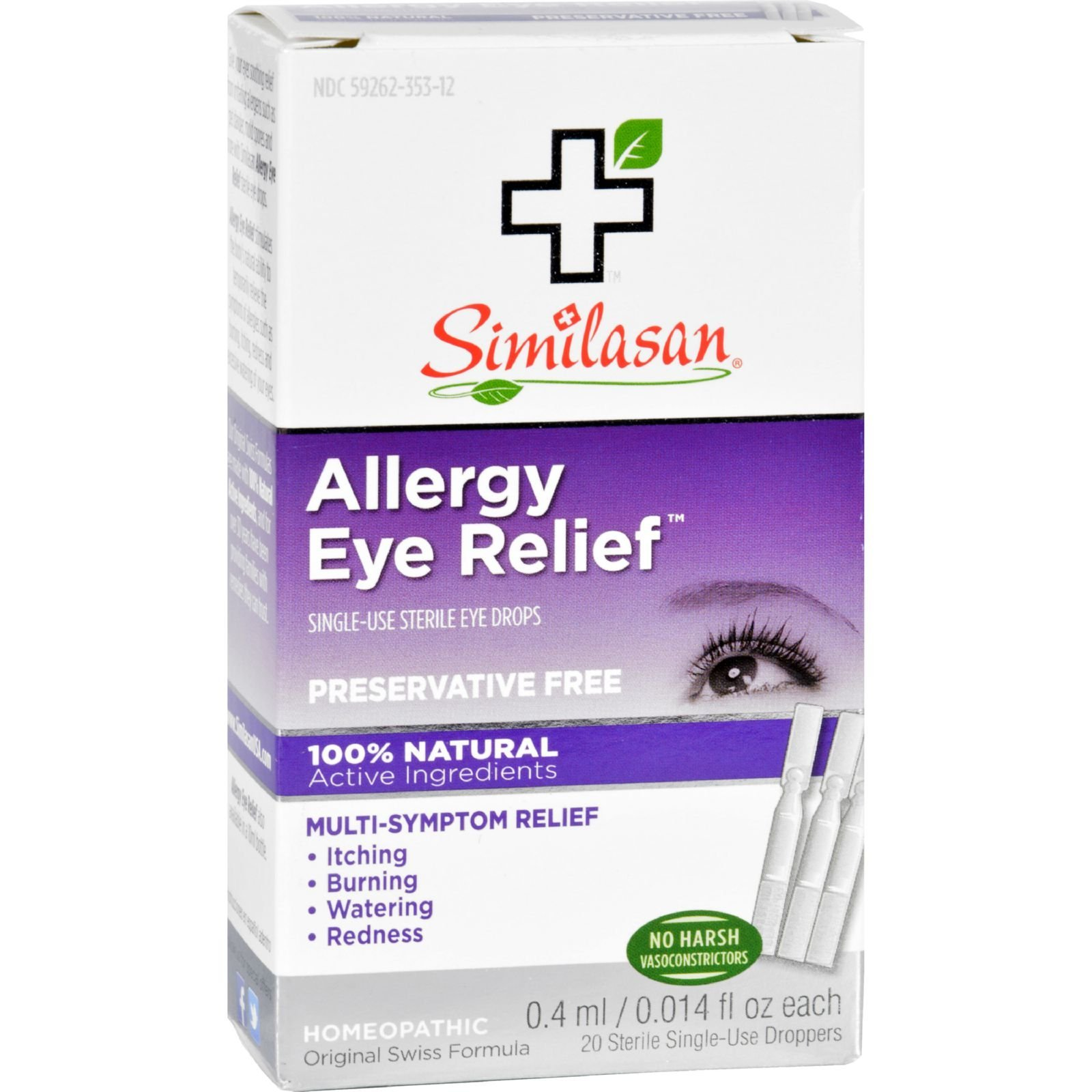 Similasan Allergy Eye Relief - 0.015 fl oz - Relieves Itching, Burning and Watering Associated with Allergies - Homeopathic