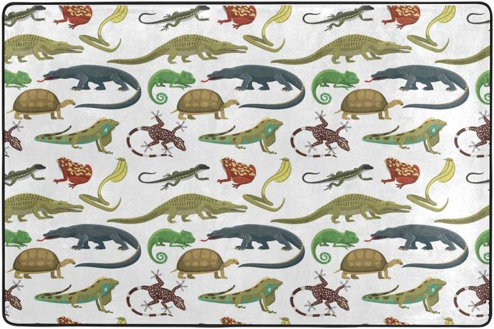 WIHVE Reptiles Animals Non Slip Area Rugs Living Room Carpet Bedroom Rug for Children Rug Floor Yoga Mat 24 x 36 inch 2 x 3