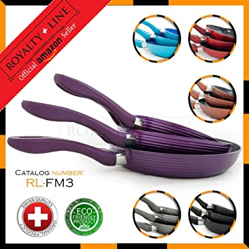 Royalty Line PURPLE 3 Forged Aluminium Frying Pan Set with ...