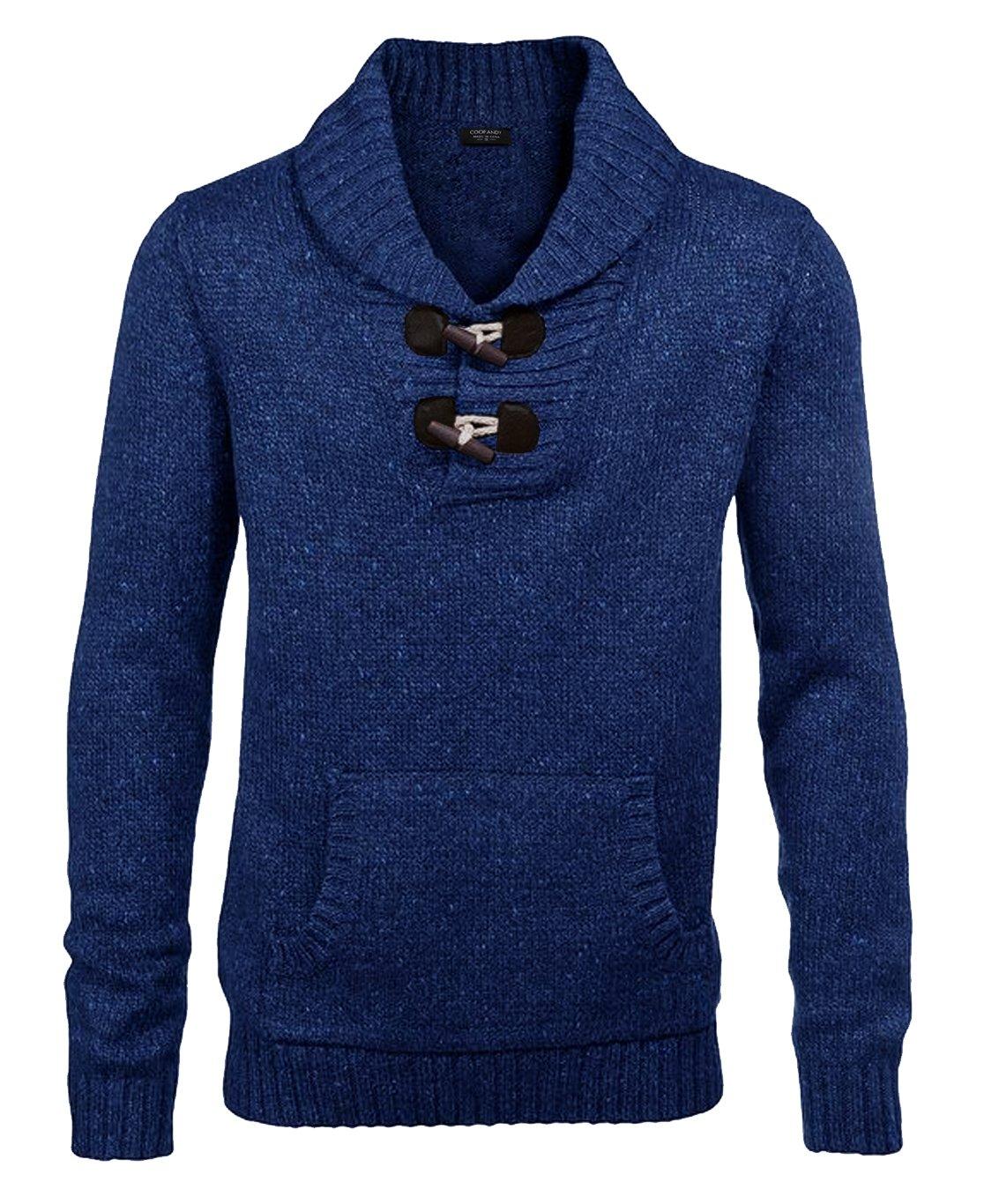 COOFANDY Men's Fashion Long Sleeve Plaid Button Down Casual Shirts, Blue XL