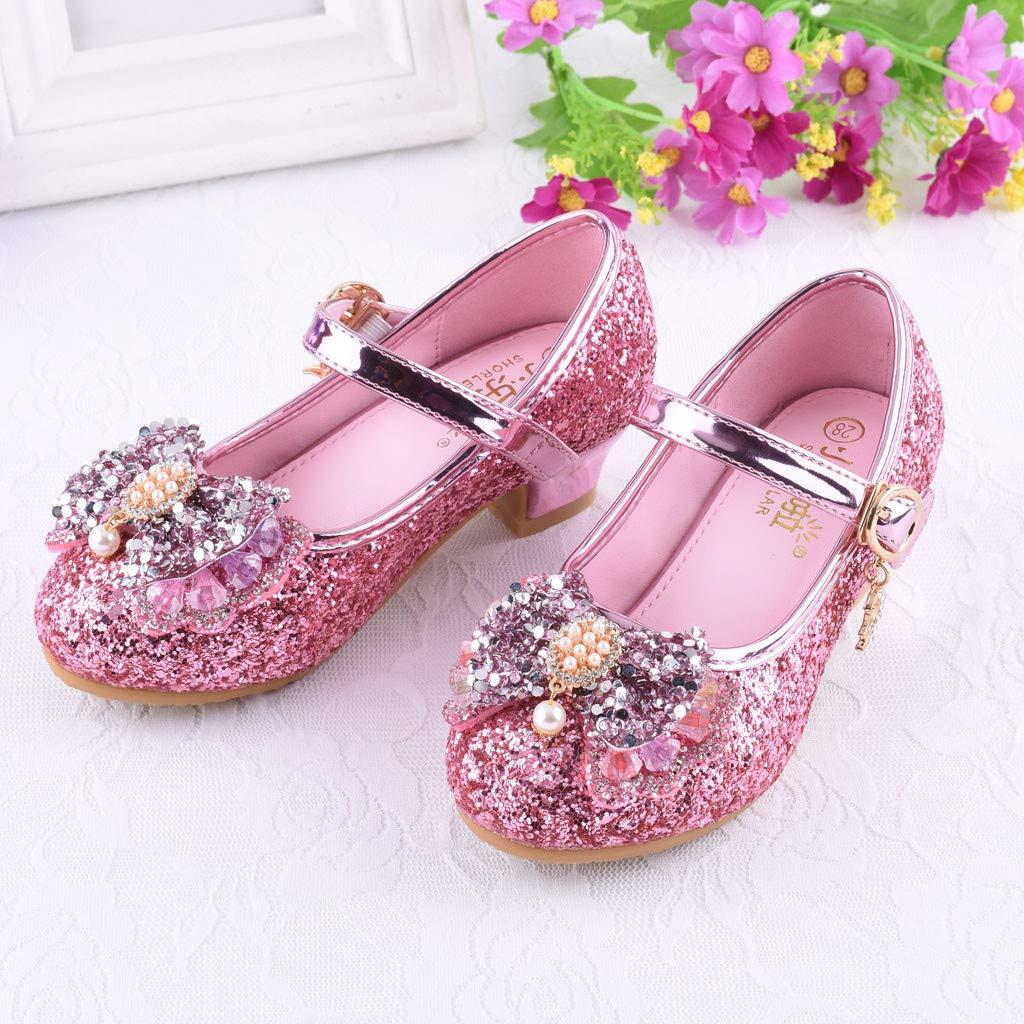 Chaussures Princesse Fille,Binggong Babies Fille Chaussure /à Talon Enfant Ballerine Princesse avec Paillettes Noeud Papillon Chausson Maryjane