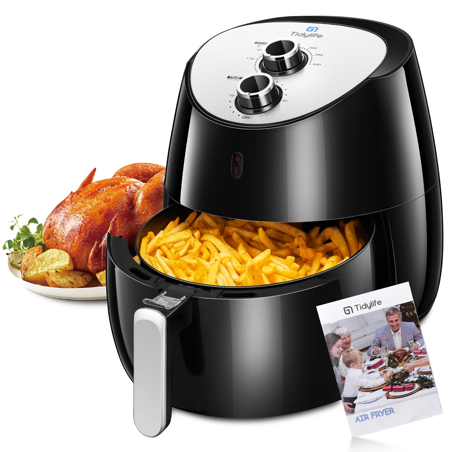 Tidylife 5.8 QT Air Fryer, 1700W 8 in 1 Oil Free Airfryer with Cookbook(over 32 receipes), Dishwasher Safe Basket,Timer and Auto Shut Off For Healthy Fried Food (5.8QT)