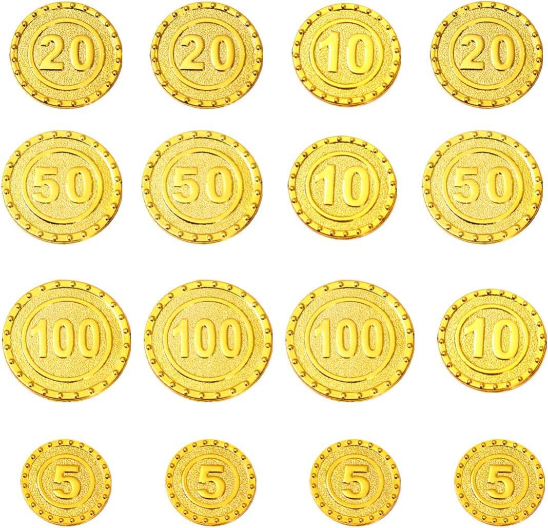 TOYANDONA Jugar Monedas de Plástico Pirata Monedas de Oro Falsos Juegos de Caza del Tesoro Juguetes para Niños Fiesta Favor Florero Rellenos Artes Artesanías Estilo 100 Piezas 1