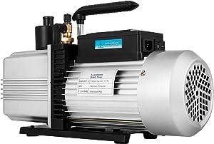 VEVOR Rotary Vane Vacuum Pump 12CFM 1HP Single Stage HVAC Auto AC Refrigerant Air Vacuum Pump Wine Degassing Milking Medical Food Processing Air Conditioning Vacuum Pump (1-Stage, 12CFM)