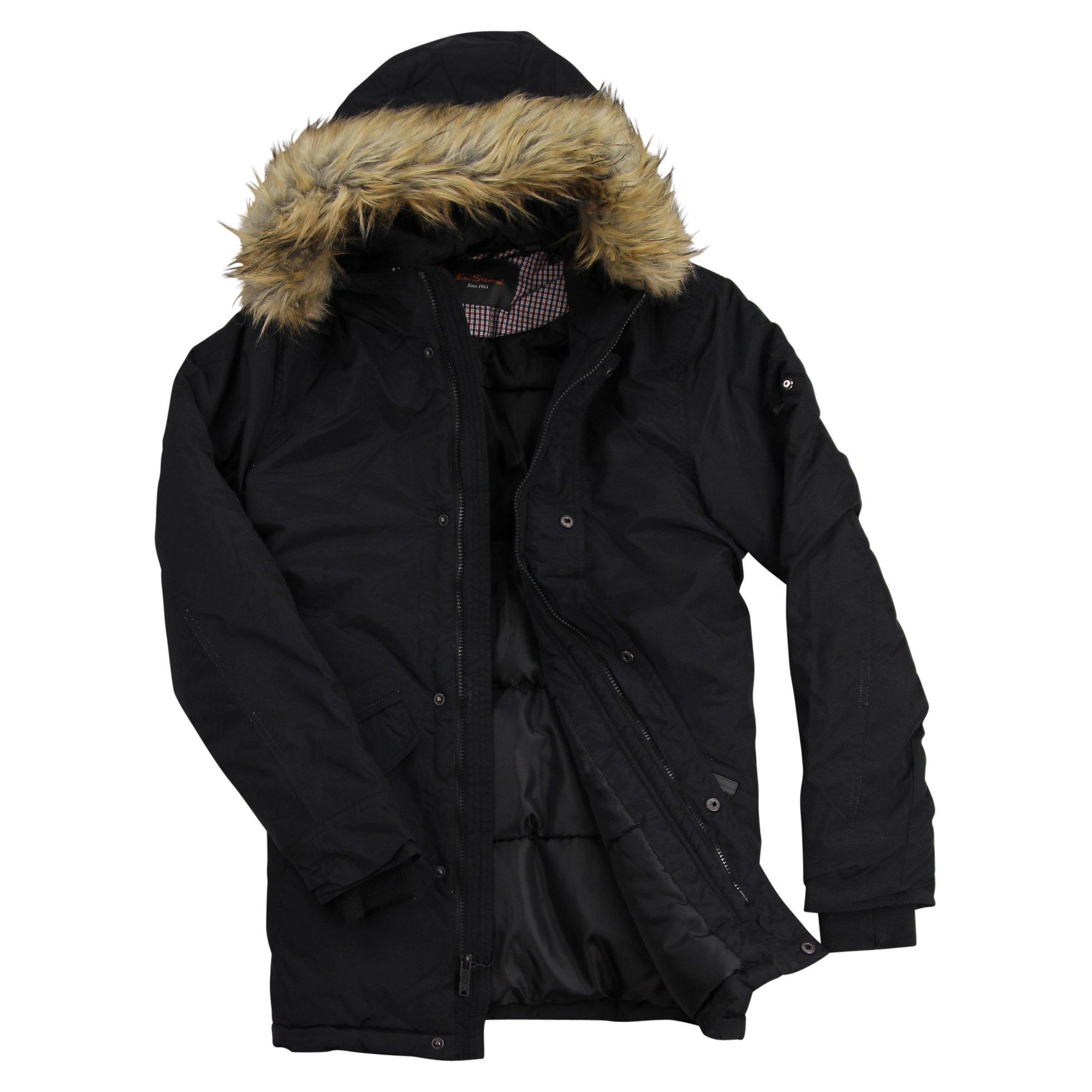 Ben Sherman Men's Parka Jacket, Black, XL