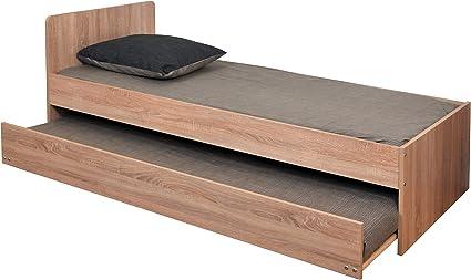 WEBER INDUSTRIES 327260 contemporáneo Cama Nido con 2 somieres de láminas (Madera, 192,6 x 94,5 x 80 cm), Madera, Chêne blanchi Sonoma, 190x90 cm