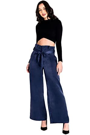 2403ab97727 Standards   Practices Modern Women Blue Wash Satin Paper Bag Waist Palazzo  Pants Size S