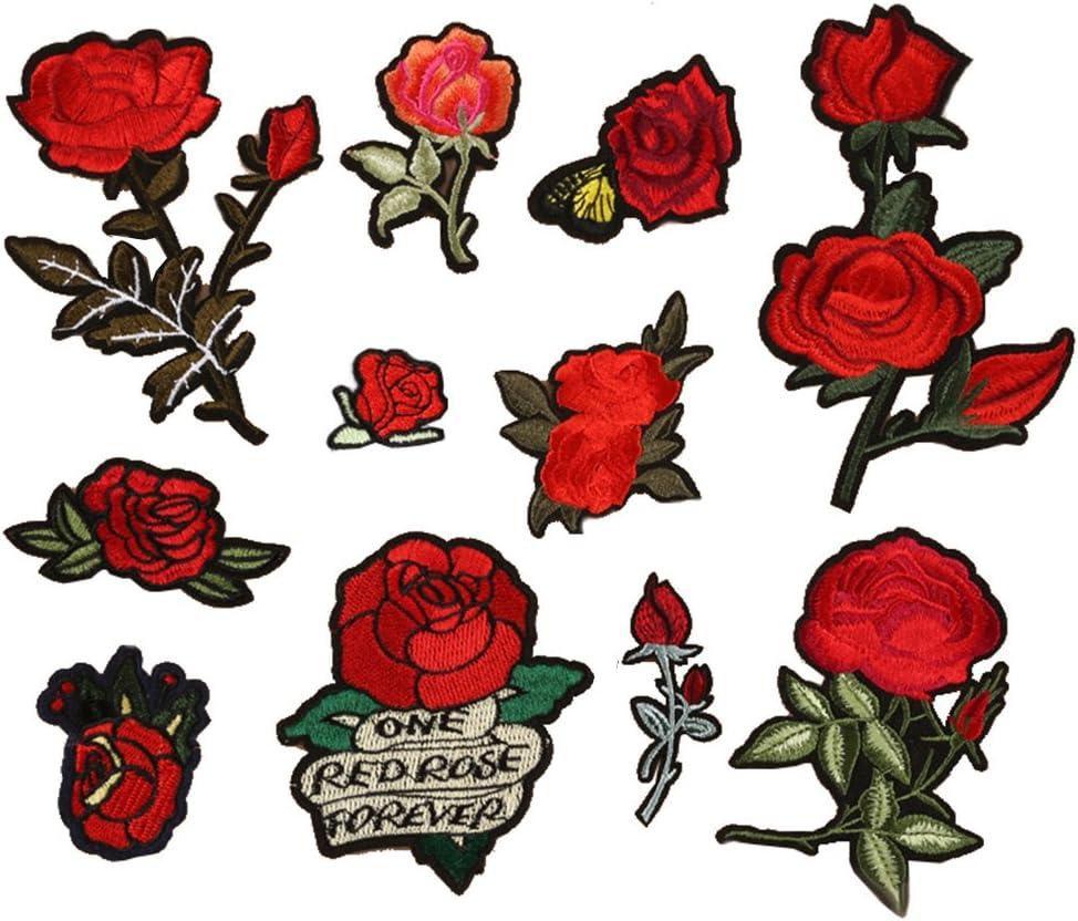 jeans ricamate con fiori di rosa bianco Chutoral zaini per vestiti 4 toppe termoadesive berretti toppe di riparazione in tessuto toppe da cucire e distintivi
